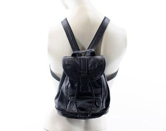 Vintage Black Leather Mini Backpack Purse