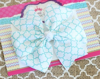 Baby Bows, Toddler Bows, Girls Hair Bows, Hair Clip, Turquoise White Quatrefoil Hair Bow Headband, Pinwheel Hair Bow, 4 Inch Hair Bow