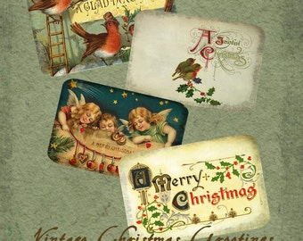 Christmas Greetings  Vintage Style Collage Sheet Instant Digital Download