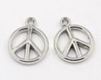 Metal Charms Peace Sign 20pcs Silver