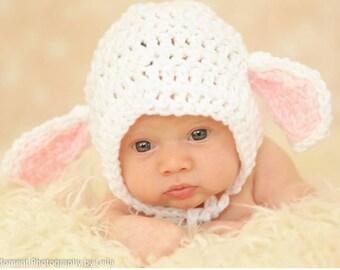 Baby Lamb Hat, Crochet Baby Hat, Newborn Lamb Hat, Lamb Bonnet, Knit Lamb Hat, Lamb Photo Prop, Baby Bonnet, Newborn Photo Prop