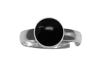 10mm Round Genuine Black Onyx Cabochon Platinum Plated Adjustable / Expandable Ring lxMjf0d