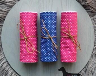 Set of 3 Burp Cloths - Pink/Blue Polka Dots