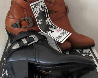 Dingo western shoe boots women size 5M black or rust vintage early 90's never worn still in original box