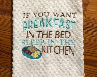 Breakfast in Bed Dish Towel