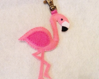 Flamingo Bag Charm, Zip puller, pink bird, bird bag charm, tropical bag charm, gift under 10, flamingo gift, gift for her, gift for mum