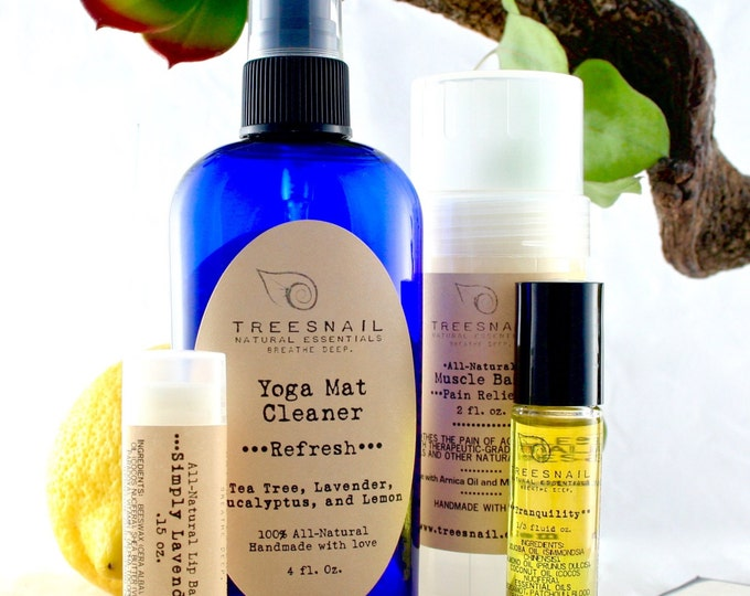 Featured listing image: All-Natural Yoga Gift Set // Yoga Mat Cleaner, Muscle Balm, Roll-on Oil, Lip Balm
