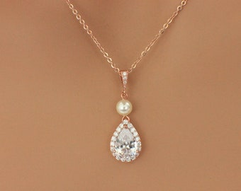Simple rose gold necklace, CZ necklace, teardrop bridesmaid necklace, crystal bridal necklace, bridesmaid jewelry gift, wedding jewelry