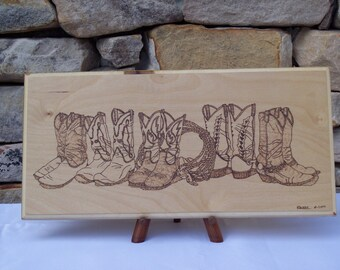 Western Boots Woodburning Pyrography