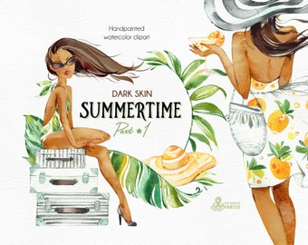 Summertime 1.Dark skin. Wreaths, Frames, Elements. Watercolor holiday clipart, girls, beach, travel, suitcase, floral, tropical leaves, trip