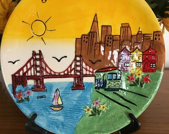 "Souvenir 8"" Plate of San Francisco with Stand"