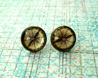 20% OFF- Vintage Compass Cabochon Stud Earrings,Earring Post,Beautiful Gift