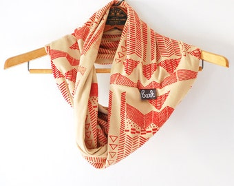 Going Hunting - Red and Camel - hand printed circle scarf - by Simka Sol