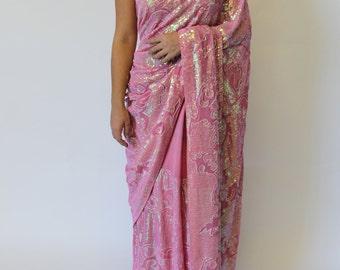 Pink Sequin Saree