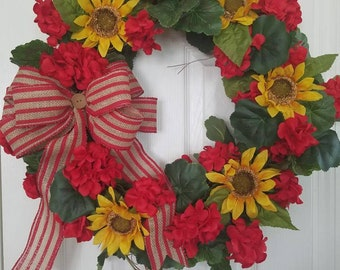 Red Geraniums and Sunflower Wreath