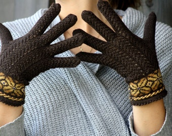 Hand Knitted  Wool Lace Gloves Knitted Brown Gloves Womens Wool Gloves Knit Gloves Womens Gifts Handmade Gloves Winter Glove