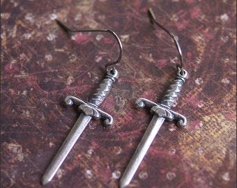 SWORD DAGGER Earrings-Medieval Earrings Jewelry, Silver Knife Earrings, Weapon Battle Jewelry, Long Dangle Earrings, Silver Gothic Jewelry