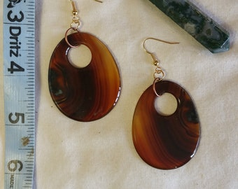 Handmade Brown Agate Slice and Gold Earrings, Copper, Natural