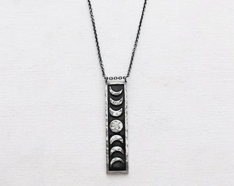 Sterling Silver Moon Phase Pendant. Moon Phase Jewelry. Lunar Inspired Necklace. Moon Phase Necklace. Occult Jewelry. Celestial. Nature.