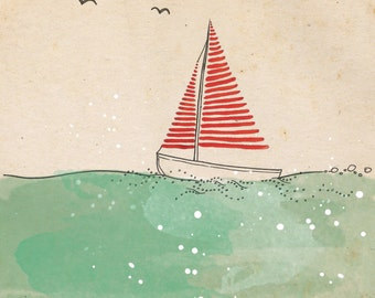 Sail away - ink, watercolour & collage illustration print on archival paper