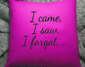 Custom Toss Pillow - Forgetting things??  A unique bed pillow for fun and a smile.  Personalized embroidery, laugh a lot!
