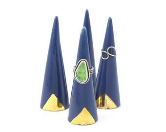 Modern Ceramic Ring Cone Holder Storage Jewelry Organization Display: Peacock Blue Gold Triangle
