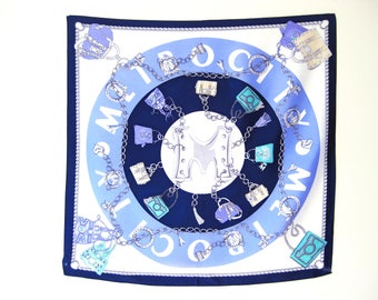 Gift for mom, 100% Silk Scarf, 26x26 inches, 66x66 cm, Small Scarves, Petite Scarf, Blue Silk Scarf