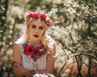 Summer rich bohemian flower poppy necklace
