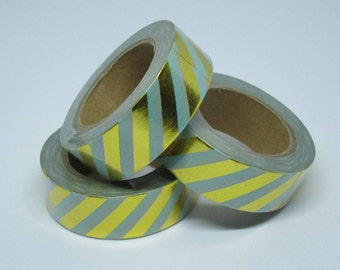 Mint and Gold Foil Stripe Washi Tape