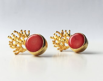 Small Coral Reefs Earrings in Gold Vermeil sterling silver