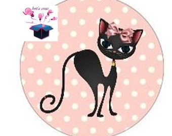 1 cabochon clear size 10 mm cat theme