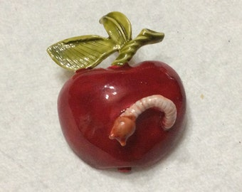 Original by Robert red enamel apple with worm brooch