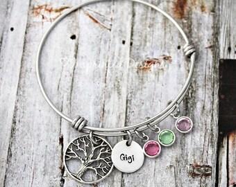 Family Tree Bracelet - Charm Bracelet - Grandma Bracelet - Adjustable Bangle - Birthstone Bracelet - Charm Bracelet - Gigi - Nana