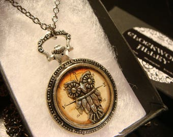 Owl over Vintage Compass Image-  Pocket Watch Style Pendant Necklace in Antique Silver (2486)