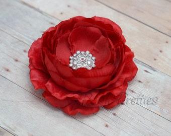 Red Flower Hair Clip Crimson Flower Hair Clip Ranunculus Hair Clip Rhinestone Flower Hair Clip Ruffled Flower Hair Clip Headband