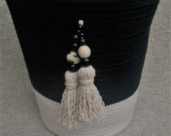 Black and white rope coil basket with matching beaded tassels