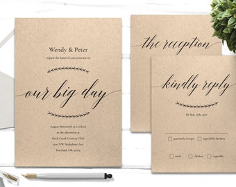 Printable Wedding Invitation - 3 Piece Wedding Kit - Wedding Invitation PDF - Wedding RSVP Print At Home - Elegant Wedding Invitation