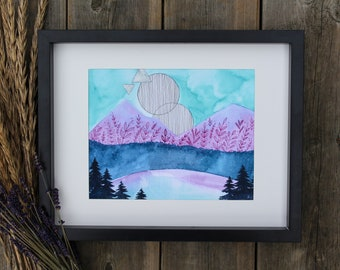 "Art Print of Mountains, Ocean, Trees and Hills Watercolour Painting - ""Wind Blows"" Image"