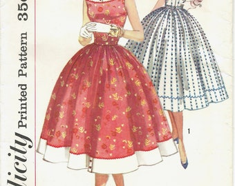 1950s Simplicity 1963 Misses' One Piece Dress Sewing Pattern UNCUT