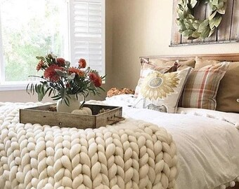 Chunky Knit Blanket,Arm knit blanket, Merino wool blanket, Giant knit Throw