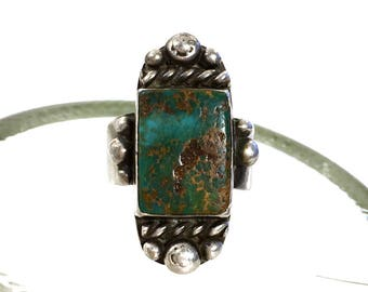 70s Navajo Turquoise & Sterling Silver Ring / Vintage Old Pawn Native American Jewelry / Hippie Boho Southwest Western / Size 9