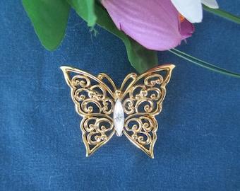 Vintage Monet Filigree Rhinestone Butterfly Brooch Vintage Costume Jewelry  Rhinestone Jewelry Butterfly Jewelry Vintage Pins