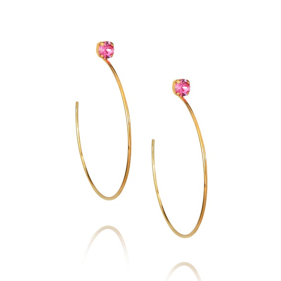 Gem Oversize Hoop Earrings in Rose Pink