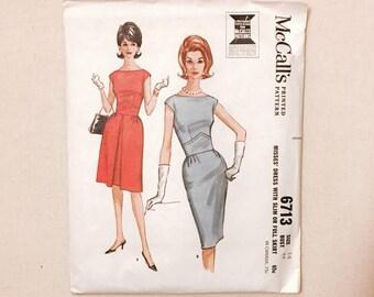 "unused uncut early 1960s vintage printed dress pattern * slim or full skirt * McCall's 6713 * vintage size 14 bust 34"" waist 26"""