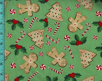 Holly Treats Candy and Cookies Fabric Quilting Crafting Home Decor