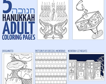 5 Hanukkah Coloring Pages for Adults -  Chanukah colouring for grown-ups - Instant Download Digital Version