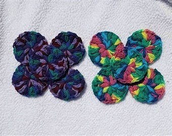 Crochet Face Scrubbies, Makeup Remover Pads, Reusable Cotton Rounds, Face Cleansing Cloths, Rainbow Crochet, Skin Care, Face Cloths