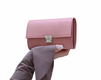 dusty rose wallet, women leather wallet, cute wallet for women, unique womens wallet, accordion leather wallet, wallet clutch, medium
