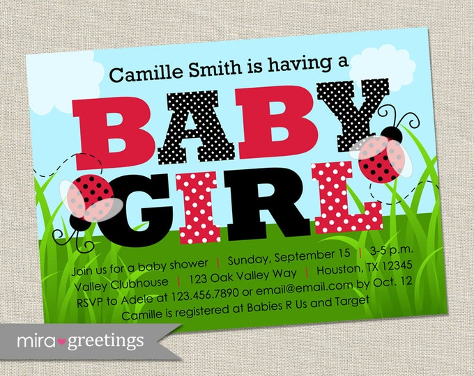 Ladybug Baby Shower Invitation - Printable Digital File