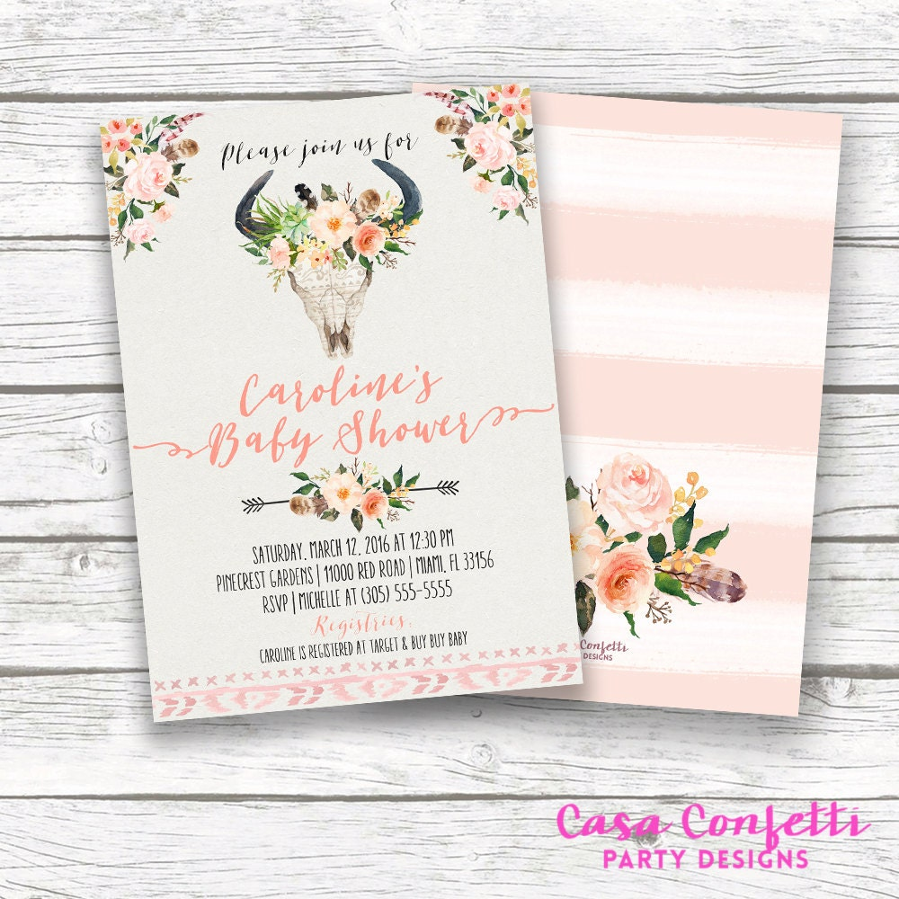 Boho Baby Shower Invitation, Tribal Baby Shower Girl, Floral Arrow ...